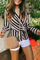 Dokifans V Neck Striped Black Blouse