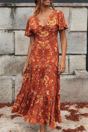 Dokifans Flounce Design Jacinth Maxi Dress