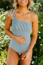 Dokifans One Shoulder Striped Blue One-piece Swimsuit