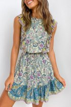 Dokifans Flounce Design Blue Mini Dress
