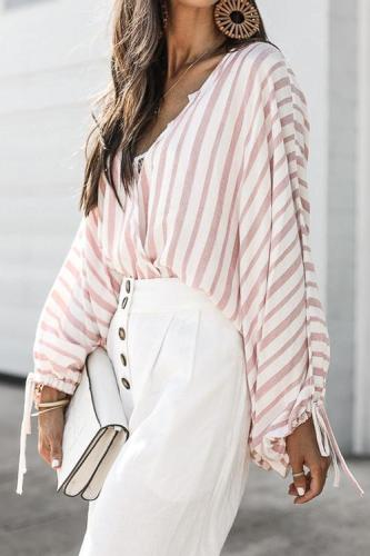 Dokifans Casual Striped Pink Cotton Blends Shirts