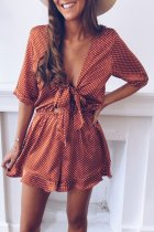 Dokifans Knot Design Wine Red One-piece Romper