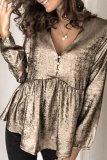 Dokifans V Neck Ruffle Gold Blouse