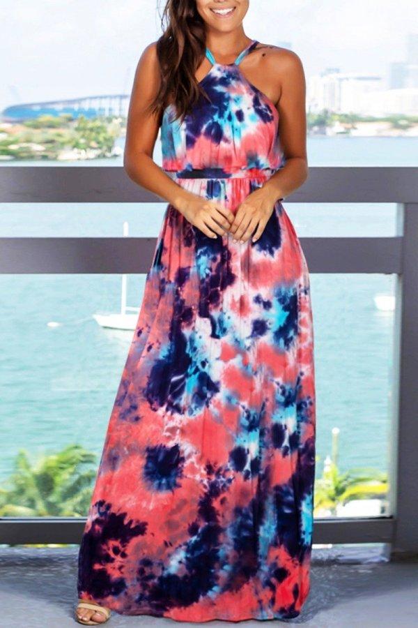 Dokifans Dew Shoulder Tie-dye Multicolor Maxi Dress