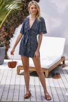 Dokifans Floral Printed Deep Blue One-piece Romper