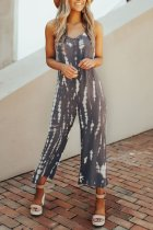 Dokifans Spaghetti Straps Printed Deep Grey One-piece Jumpsuit
