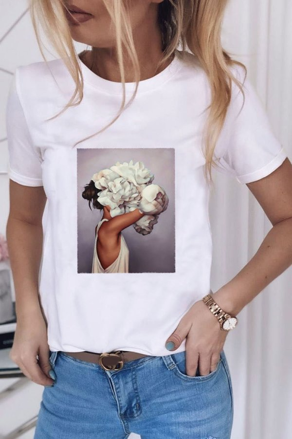 Dokifans Simple Print White T-shirt