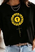 Dokifans Sunflower Print Black T-shirt