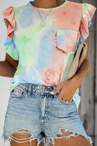 Dokifans Tie-dye Print Ruffled Multicolor T-shirt (2 Colors)
