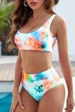 Dokifans Bandeau Tie-dye Print High Waist Bikini Set (2 Colors)