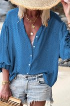 Dokifans V Neck Printed Blue Blouse