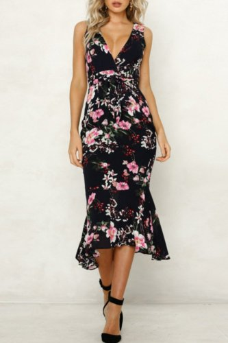 Dokifans Deep V Neck Floral Print Black Midi Dress