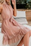 Dokifans Tassel Design Dusty Pink Mini Dress