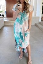 Dokifans Tie-dye Print Pocketed Loose Maxi Dress (3 Colors)