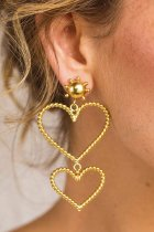 Dokifans Heart Hollow-out Gold Earring