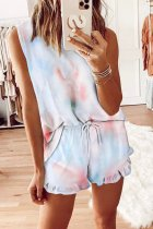 Dokifans Lace-up Ruffled Tie-dye Two-piece Shorts Set