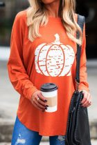 Dokifans O Neck Pumpkin Printed Jacinth T-shirt
