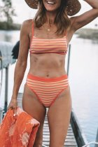 Dokifans Striped Orange Bikini Set