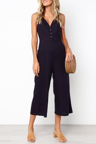 Dokifans Trendy Loose Black Blending One-piece Jumpsuit