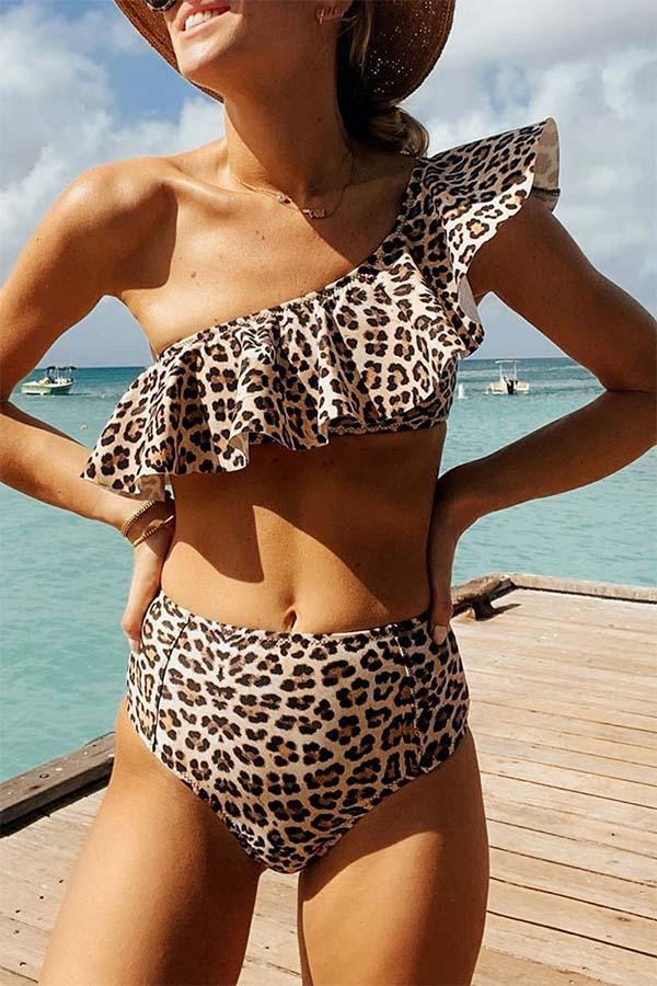 Dokifans Ruffle One Shoulder Leopard Print Bikini Set
