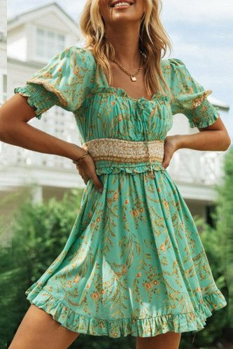 Dokifans Floral Print Ruffled Green Mini Dress