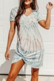 Dokifans Tie-dye Print Twist Grey Mini Dress