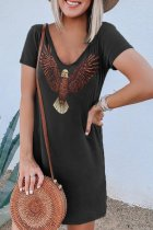 Dokifans Eagle Print Loose Mini Dress (2 Colors)