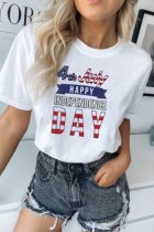 Dokifans Letter 4th July Print White T-shirt (2 Colors)