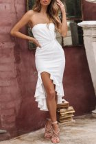 Dokifans Dew Shoulder Flounce Design White Midi Dress