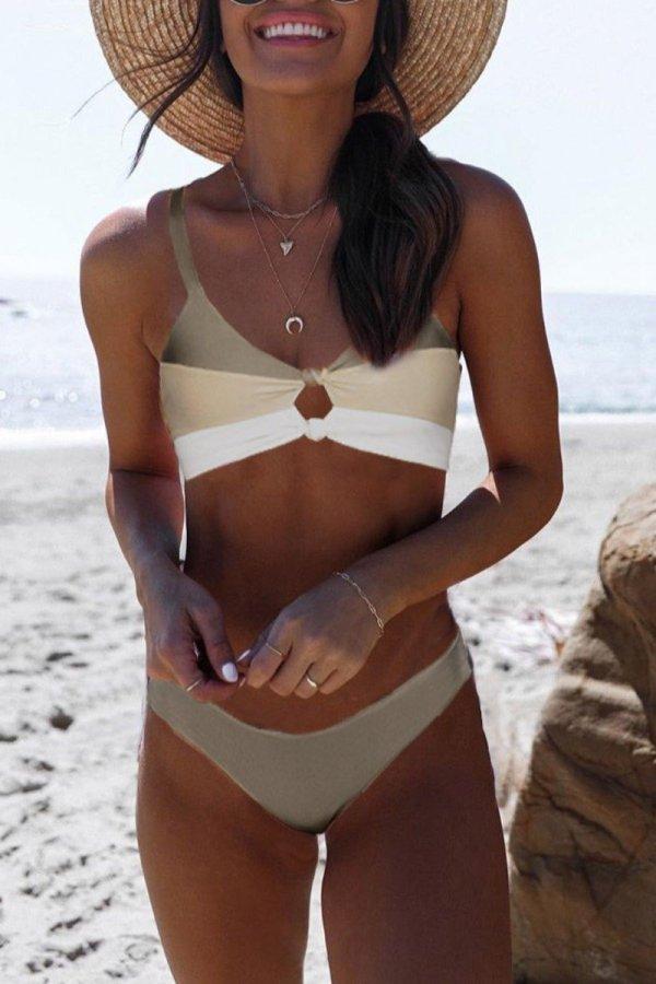 Dokifans Patchwork Cutout Khaki Bikini Set