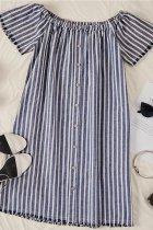 Dokifans Striped Blue Mini Dress