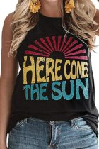 Dokifans Letter Here Comes The Sun Print Black Tank Top