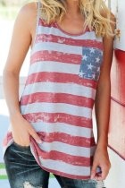 Dokifans Striped Flag Print Multicolor Tank Top