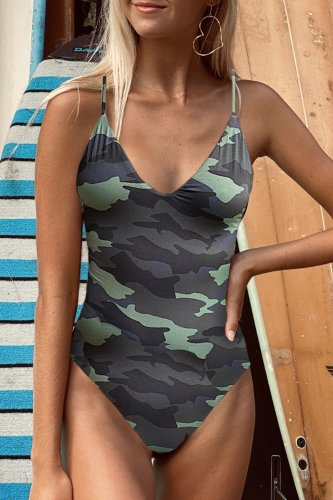 Dokifans Camo Print One-piece Swimsuit