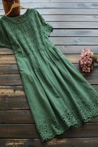 Dokifans Hollow-out Green Midi Dress