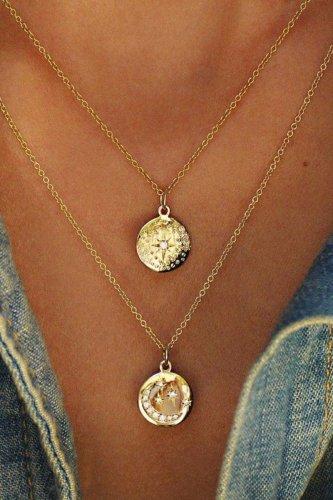 Dokifans Rhinestone Decorative Gold Necklace