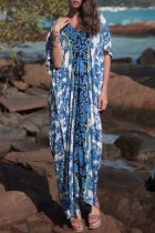 Dokifans Boho Floral Print Blue Maxi Dress