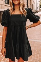 Dokifans Fold Design Solid Black Mini Dress