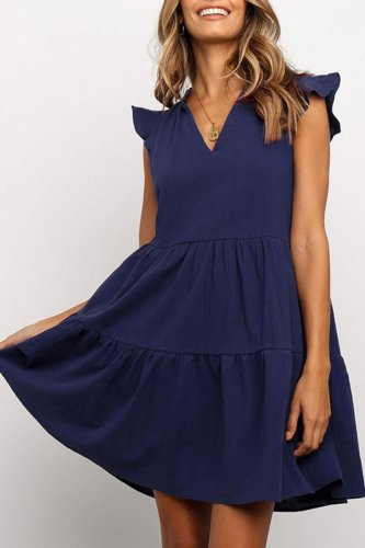 Dokifans V Neck Sleeveless Dark Blue Mini Dress