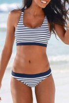 Dokifans Halter Striped Blue Bikini Set