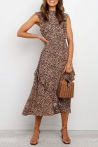 Dokifans Ruffle Design Brown Midi Dress