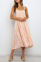 Dokifans Sleeveless Striped Print Multicolor Dress