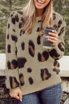 Dokifans Casual Long Sleeves Leopard Pattern Sweaters