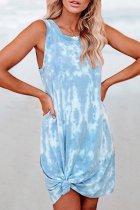Dokifans Tie-dye Baby Blue Mini Dress
