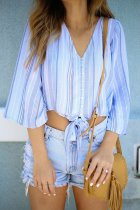 Dokifans Striped Knot Design Blouses