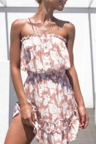 Dokifans Ruffled Button Design Floral Print Mini Dress (2 Colors)
