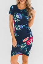 Dokifans Floral Printed Dark Blue Mini Dress