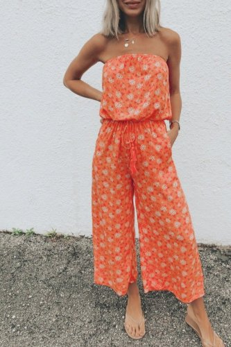 Dokifans Dew Shoulder Floral Print Orange One-piece Jumpsuit