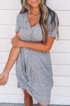 Dokifans Twist Design Grey Midi Dress
