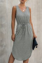 Dokifans Lace-up Solid Grey Midi Dress